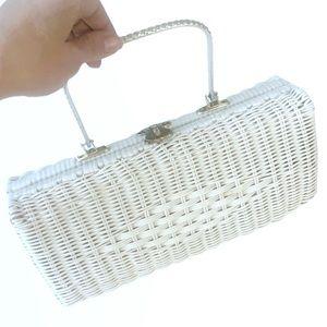 Vintage Simon White Wicker Handbag